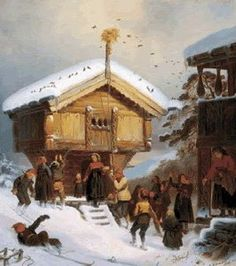 """""""NORWEGIAN COUNTRY YULETIDE""""  BY ADOLPH TIDEMAND    The painting above shows a Norwegian stabbur, or storehouse. Sore Plassen only had a barn and not a stabbur, as far as I can tell, but many, many Norwegian farms did and do have them. On the pole atop of the stabbur you can see a julenek (definition below)."""
