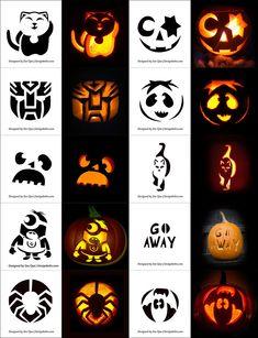 Free Printable Halloween Pumpkin Carving Stencils, Patterns, Designs, Faces & Ideas Free P Pumpkin Carving Stencils Easy, Cat Pumpkin Carving, Awesome Pumpkin Carvings, Halloween Pumpkin Carving Stencils, Pumpkin Carving Templates, Starwars Pumpkin Carving, Printable Halloween, Fete Halloween, Halloween Pumpkins