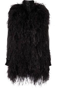 Maison Martin Margiela  Feather and leather coat