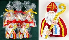 Extra special Saint Nicholas cookies, each comes in a cellophane bag, tied with a ribbon bow