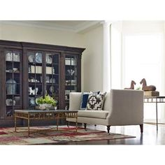 Clemens French Country Espresso Brown Walnut Glass 4 Door Bookcase Cabinet. #kathykuohome