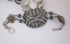 Vintage Repurposed Jewelry - Antique Art Deco French Rhinestone Buckle, Pearls, Sterling Silver - one of a kind - jryendesigns.etsy.com