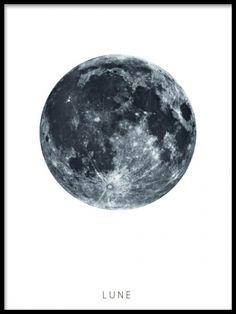 Lune, poster. Svartvitt print till inredning. En vacker poster med månen. En avskalad men väldigt fin posters som passar fint till stilren skandinavisk inredning.