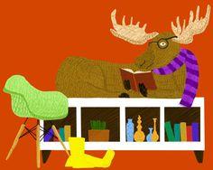 Colorful Fun Wall Art Print Home Decor  Moose on by JoeyElkins, $25.00