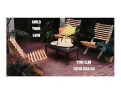 Digital Download 70's Woodworking Pine Slat Patio Chair Plans Pattern - Vintage…