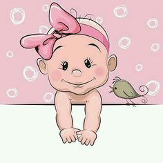 Illustration about Cute cartoon baby girl and a bird on a pink background. Illustration of months, care, lifestyles - 73862855 Baby Cartoon, Cartoon Kids, Cute Cartoon, Clipart Baby, 365 Kawaii, Cartoon Mignon, Baby Faces, Belly Painting, Illustration Girl