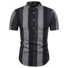 Men Fashion Stripe Flat Color Stand Collar Shirt for Summer Europe Size Stand Collar Shirt, Collar Shirts, Shirt Sleeves, Striped Flats, Striped Shorts, Casual Shirts For Men, Casual Dresses For Women, Men Shirts, Shirt Men