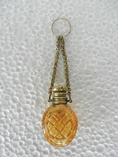 Old Victorian Mould glass Design Perfume Bottle With Brass Cap & Chain