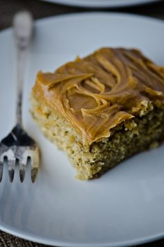 bliss blog - blissful eats with tina jeffers: Banana cake with peanut butter frosting