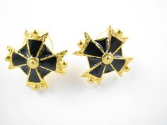 Gold and Black Anne Klein Earrings by Suwanee on Etsy, $10.00