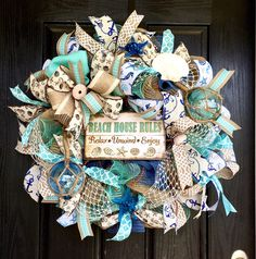 A personal favorite from my Etsy shop https://www.etsy.com/listing/523282973/beach-deco-mesh-wreath-beach-house-mesh