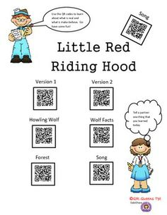 FACT OR FICTION WITH LITTLE RED RIDING HOOD USING QR CODES -K-2nd $ Good way for students to learn about fact or fiction! Great for differentiated instruction, early finishers, workshops, and much more. QR QUEENS