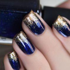 + 77 designs for trendy gel nails polish colors 2018 creative nails, blue gold nails Gel Nail Polish Colors, Nail Polish Hacks, Best Nail Polish, Nail Colors, Pedicure Colors, Polish Nails, Gellux Nails, Navy Nail Polish, Usa Nails
