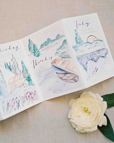 32 Dreamy Watercolor Wedding Ideas | Martha Stewart Weddings - Thinking outside the box, this couple had Brown Linen Design make an illustrated activity itinerary for their guests using soft watercolor shades to show off the beautiful Colorado setting.