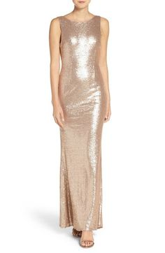 Lulus Sleeveless Sequin Drape Back Gown available at #Nordstrom