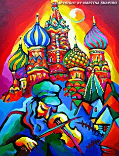 Fiddler In Russia,  original Jewish oil painting by artist Martina Shapiro, contemporary Jewish fine art