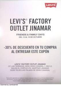 LEVI'S    PROMOCIÓN FRIENDS&FAMILY   En nuestra tienda LEVIS del C.C Las Terrazas – Jinamar (Gran Canaria), aprovéchate de esta inigualable promoción:   30% Descuento en la compra que realices..!!, no dejes pasar esta oportunidad, porque solo estará vigente del 13 al 19 de octubre..!  ¡¡Recuerda que debes presentar este cupón, y si aun no lo tienes, imprime y entregar este mail en tienda!!