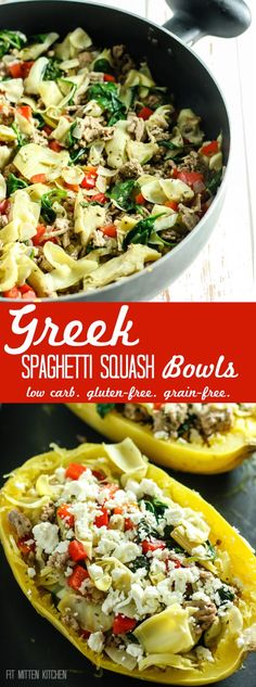 Greek Spaghetti Squash Bowls | A healthy, low carb dinner packed with veggies and protein. Found on fitmittenkitchen.com