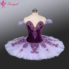 New Arrival! purple professional ballet tutu with velvet purple pancake tutu…