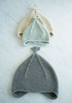 Laura's Loop: Garter Knit Ear Flap Hat, Infant through Adult Sizes
