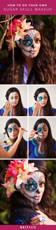 Create your own gorgeous sugar skull makeup look using eyeliner, eyeshadow, sponge brushes, brushes + this tutorial.