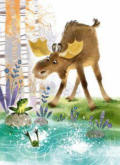 Cute Animal Illustration, Children's Book Illustration, Animal Drawings, Cute Drawings, Moose Pictures, Moose Decor, Moose Art, Art Therapy Activities, Watercolor Animals