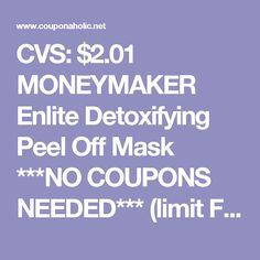 CVS: $2.01 MONEYMAKER Enlite Detoxifying Peel Off Mask ***NO COUPONS NEEDED*** (limit FIVE!)  |   Couponaholic.net