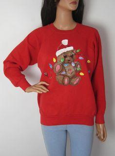 Vintage 1980s Festive Christmas Teddy Bear Sweatshirt from Virtual Vintage Clothing