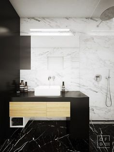 High contrast black and white bathroom // Three Homes With Simple Decor And Neutral Color Palettes Beautiful Bathrooms, Modern Bathroom, Small Bathroom, White Bathrooms, Master Bathroom, Bathroom Inspiration, Interior Design Inspiration, Home Decor Inspiration, Budget Bathroom