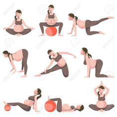 Buy Yoga for Pregnant Women Icons Collection by Sonulkaster on GraphicRiver. Yoga for pregnant women icons collection on white. Vector poster of woman wearing brown suit for training and having . Yoga For Pregnant Women, Exercise While Pregnant, Pregnant Mom, 29 Weeks Pregnant, Prenatal Yoga Poses, Prenatal Workout, Mommy Workout, Pregnancy Health, Pregnancy Care