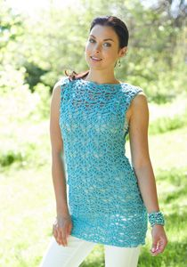 Caron International | Free Project | Crochet Tunic #crochet #spring #summer-A nice matching crocheted cuff wud look great with this!