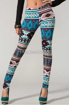 AZTEC LEGGINGS. If I even wore leggings which I refuse to do but if I did id wear these. Her bellybutton & whatever is above it is gross