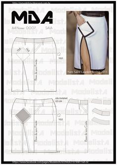 ModelistA - Pattern cutting, angled-pocket on pencil skirt