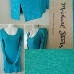 "Michael Stars Top NWT Michael Stars TEAL BLUE OS (ONE SIZE) THIS TOP WILL FIT SMALL AND MEDIUM THAT IS WHAT (OS MICHAEL STARS) MEANS TO ME IT IS BODY CON FIT BEAUTIFUL LOOK - PAIRED WITH BLACK LEGGINGS - 15.5""-16"" UNSTRETCHED ACROSS CHEST LENGTH IS 31"" GREAT LOOK FOR ANY HOLIDAY Michael Stars Tops"
