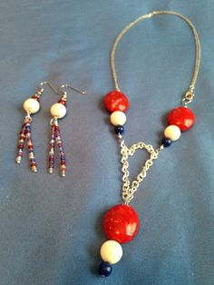 """Megan C. made this necklace and earring set for the Artbeads Red, White and Blue contest. As Megan writes, """"It's for the people who fought for us to be free."""" You can enter your own patriotic design for your chance to win. Get all the details here: http://www.artbeads.com/swarovski-artbeads-contests.html"""