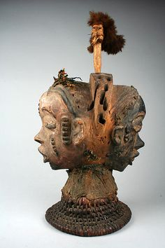 Headdress: Janus Date:19th–20th century Geography:Nigeria, Cross River region Culture:Boki peoples Medium:Wood, cane, cloth, fur, pigment, nails Dimensions:H. 14 3/4 x W. 5 1/2 x D. 7 3/8 in. (37.5 x 14 x 18.8 cm)