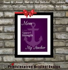 Mothers Day Gift Personalized Custom Anchor Art by Printsinspired