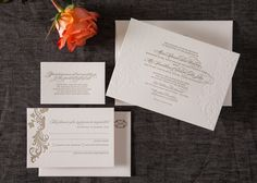Set the tone of exquisite elegance for your wedding, with letterpress wedding invitations from Paper Elephant. Visit our gallery of beautiful designs.