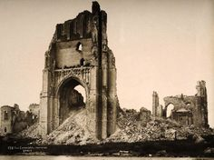 St. Martin's cathedral Ypres, Belgium soon after WWI, circa March 1919.