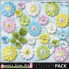 Digital Scrapbooking  Bee Happy Flower Pack