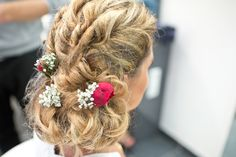 Stunning bridal hair up do with fresh red roses & gypsophila -   Image by Rock Your Love Photograpy - Rime Arodaky for an Indian Muslim Catholic fusion wedding in France at Château de Rochegude