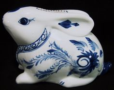 Bunny Rabbit Bank Porcelain Blue and White Shafford China