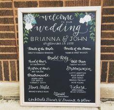 wedding program, welcome signage, bar menus, floral designs, bold creative lettering Wedding Program Board, Wedding Ceremony Programs, Wedding Signage, Chalkboard Wedding, Chalkboard Signs, Wedding Chalkboards, Chalkboard Ideas, Welcome To Our Wedding, Wedding Planning
