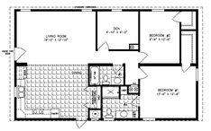 Manufactured home Floor Plan: The Imperial Limited Model 2 Bedrooms, 2 Baths 2 Bedroom Floor Plans, Mobile Home Floor Plans, Cabin Floor Plans, House Plans, Two Bedroom Tiny House, Tiny House Living, Manufactured Homes Floor Plans, Bedroom Flooring, Modular Homes