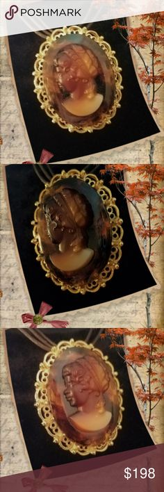 """Lovely Amber Glass Cameo Amber Glass Cameo Beautiful Amber Glass Cameo  Lady Head Brooch pin set on gold tone setting  -( sliced - melted - cooled, and delicately carved by hand )- also has a loop in back to hang on necklace. *Excellent Heavy Quality* ... Never been worn! 19"""" Brown 3 rope necklace included.   apparently purchased, put away, and forgotten about. ... need a good home.   I have very special place in my heart for old *Cameos. Cameo Jewelry Necklaces"""