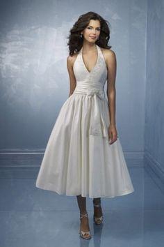 A-Linie Nackenträger natürliche Taille Taft elegantes wadenlanges Brautkleid