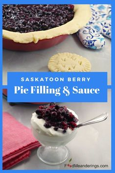 This Saskatoon berry pie filling and sauce is cooked ahead, allowing time for the berries to soften for a richer, thicker and tastier filling! Pastry Recipes, Pie Recipes, Baking Recipes, Dessert Recipes, Dessert Ideas, Recipies, Dinner Recipes, Saskatoon Berry Recipe, Saskatoon Recipes