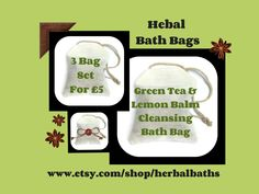 Bath and Beauty, 3 Herbal Bath Bags, Green Tea & Lemon Balm Cleansing Bath Bag, Bath Set, Home Spa, Relaxation, Herbal Gift Set by HerbalBaths on Etsy