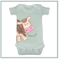 LARGE MOO COW - Adorable Baby Bodysuit or Toddler Tee - Available in sizes newborn to 6T. $16.00, via Etsy.