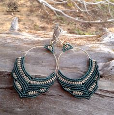 Handmade macramé hoop earrings Urban festival by byLaughingBuddha Macrame Earrings, Macrame Jewelry, Macrame Bracelets, Handmade Bracelets, Earrings Handmade, Gemstone Jewelry, Handmade Jewelry, Hoop Earrings, Macrame Knots